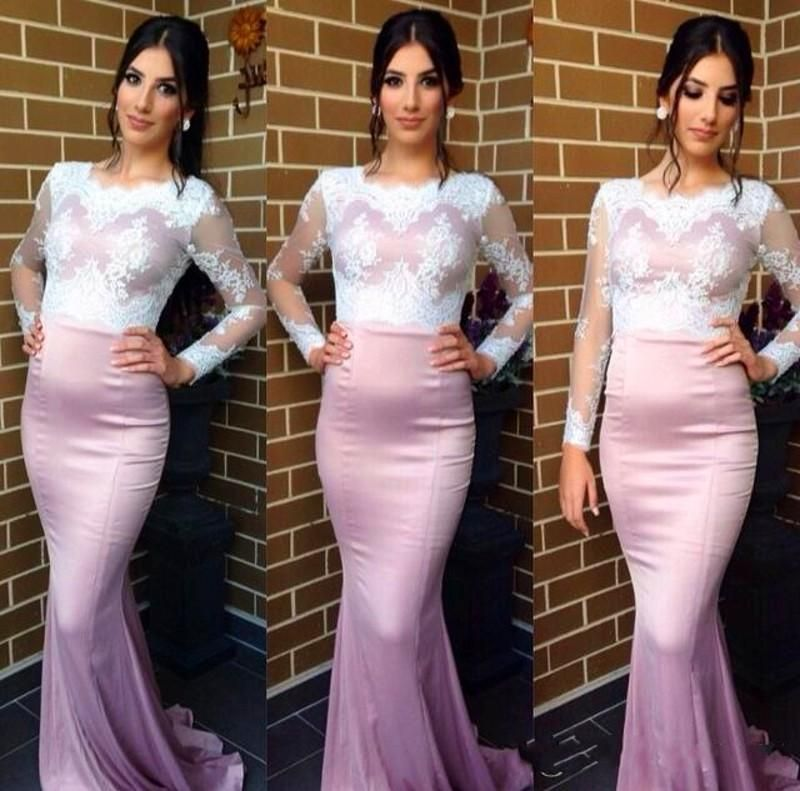 Cecelle 2016 Modest Lace Satin Blush Pink White Mermaid Long Bridesmaid Dresses Long Sleeves Train Jewel Wedding Party Dresses