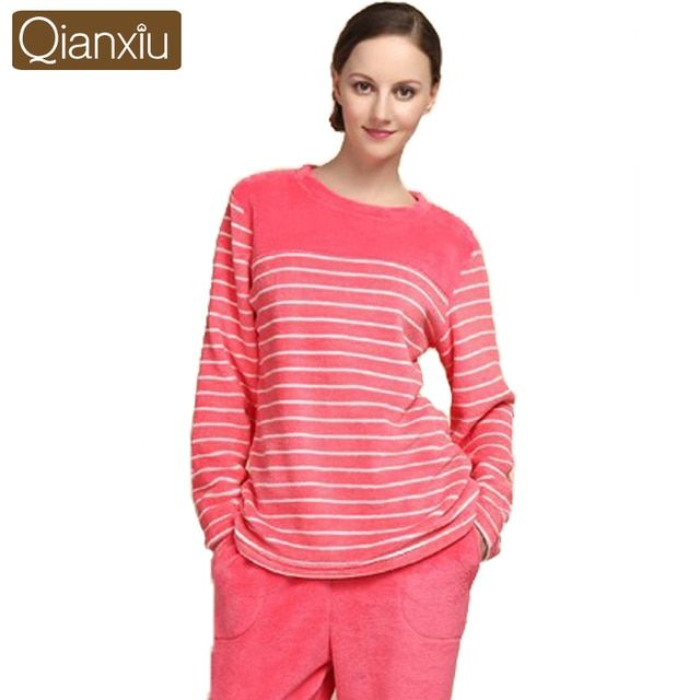 Qianxiu Pajamas For women Winter Coral Fleece Pajama Set Long-sleeve Thicken Homewear