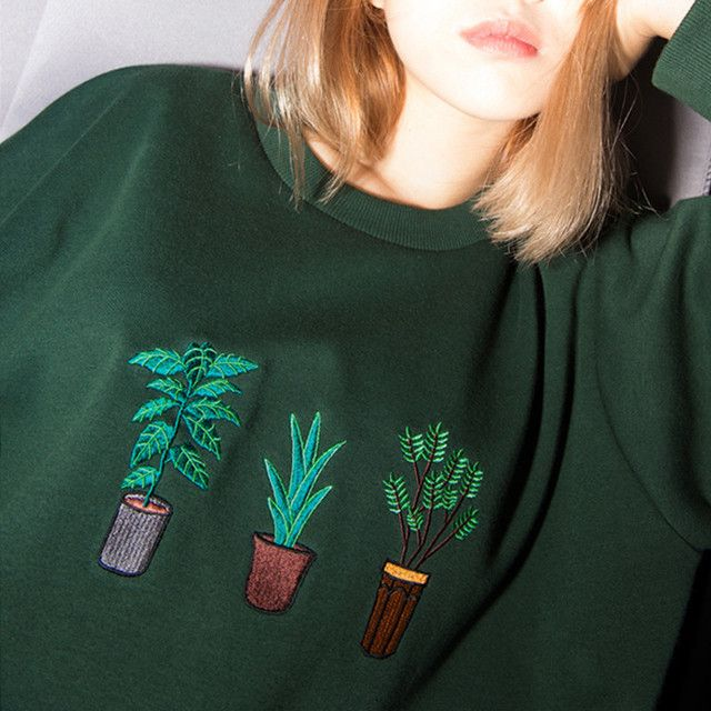 simple College Wind potted plant embroidery coco channel loose section hedging long-sleeved sweatshirt