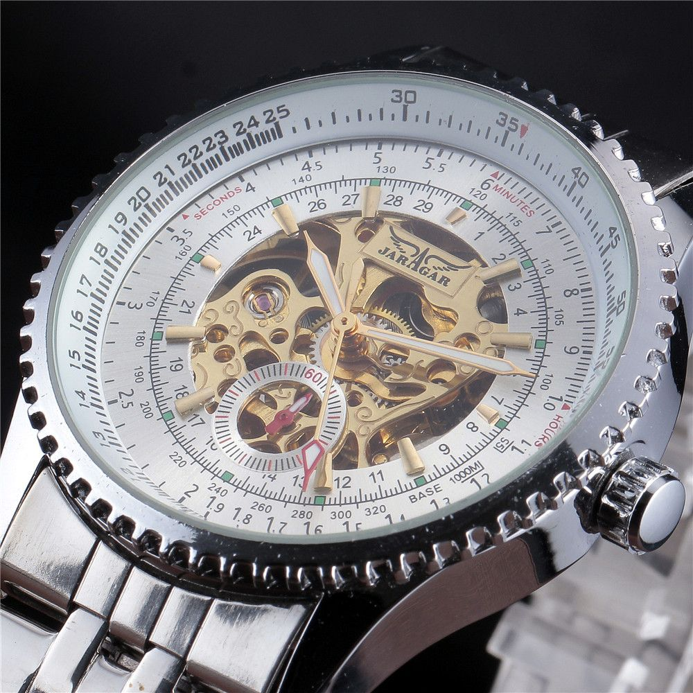 Jaragar Stainless Steel Mechanical Watch Men Skeleton Automatic Mechanical Chronograph Watch Wristwatch