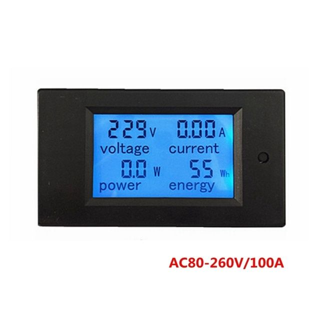 AC 80-260V/100A Digital AC Ammeter Voltmeter Current Voltage Power Watt Energy Meter Monitor with Transformer Blue Backlight
