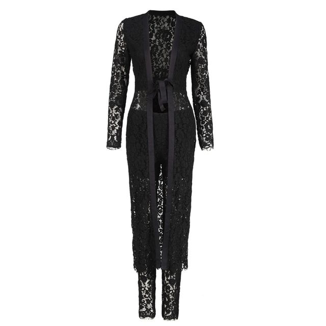BLACK SEE THROUGH LACE SET LACE PATTEN LONG CARDIGAN PANTS WOMEN SUITS TRANPARANT SEXY LACE DEEP V TWO PIECE SET