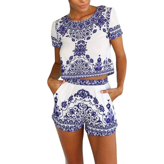 Summer 2 Pieces Clothes Set Women Short Sleeve Shorts and Crop Tops Casual Outfits