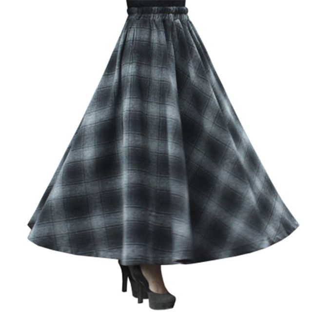 Winter skirt women party casual long maxi skirt vintage autumn high waist big sing around plaid skirt lady Large size MZ765