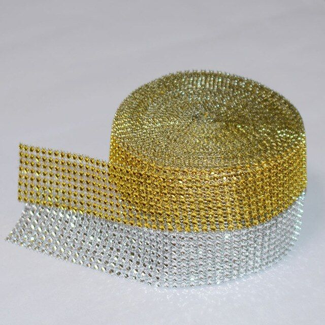 5 Yard 4cm 8 rows Silver Gold Diamond Mesh Cake Wrap Roll Sparkle Rhinestone Crystal Ribbon Wedding Party Decorations Trimming