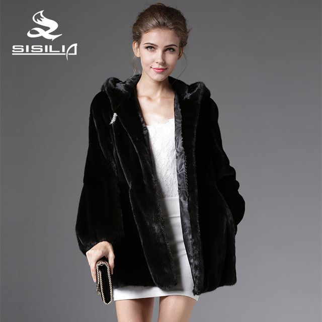 SISILIA 2016 New Winter Women's  Warm Denmark Mink Fur Fashion Style Black Color Coat 100% Sable Fur Coat Vrai Fourrure Vison
