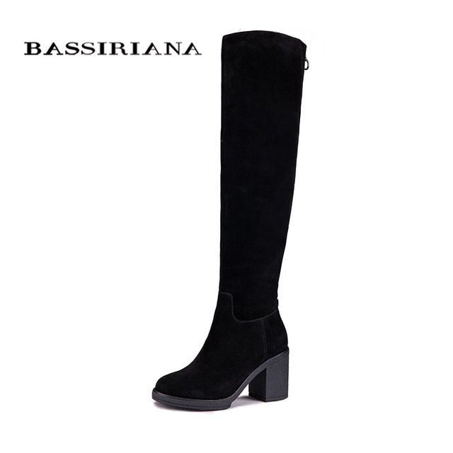 BASSIRIANA Women Winter Genuine Leather High Boots Fashion ladies  Woman Round toe Shoes Womens Black Boots
