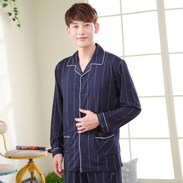 New Men Pajama Sets 2016 spring plus size cotton  long-sleeve Long pants 100% male Pajamas home wear clothes for men