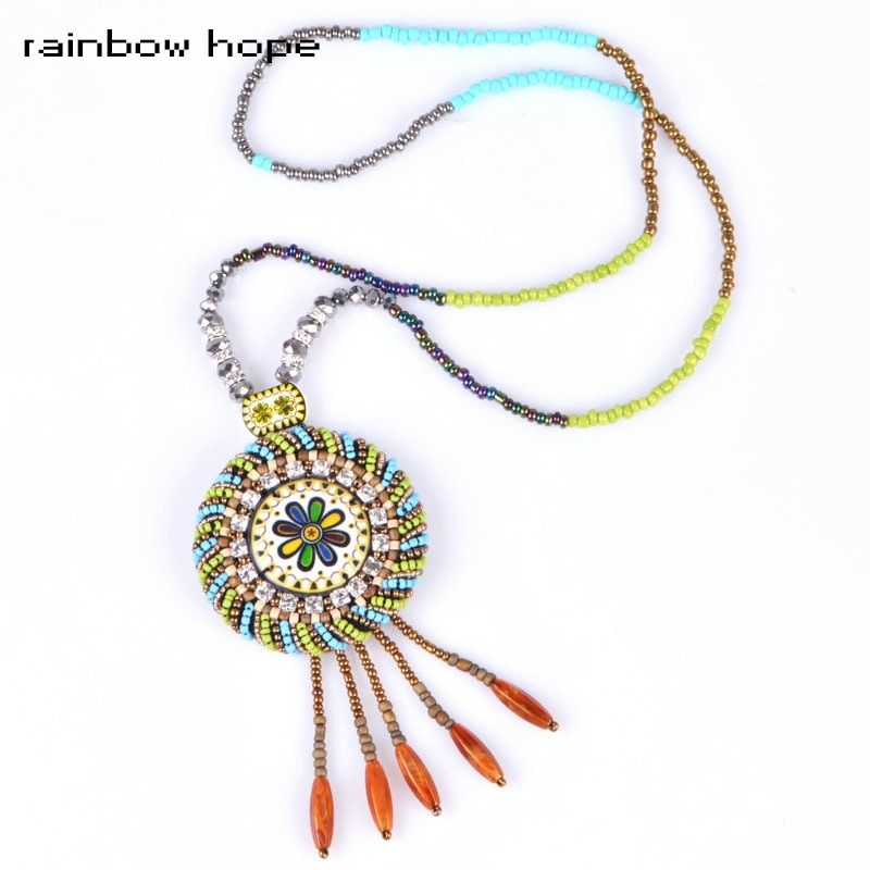 New arrival Trendy Ethnic Jewelry Women statement long collar Necklaces & Pendants Colorful Bead Ceramic bohemian necklace
