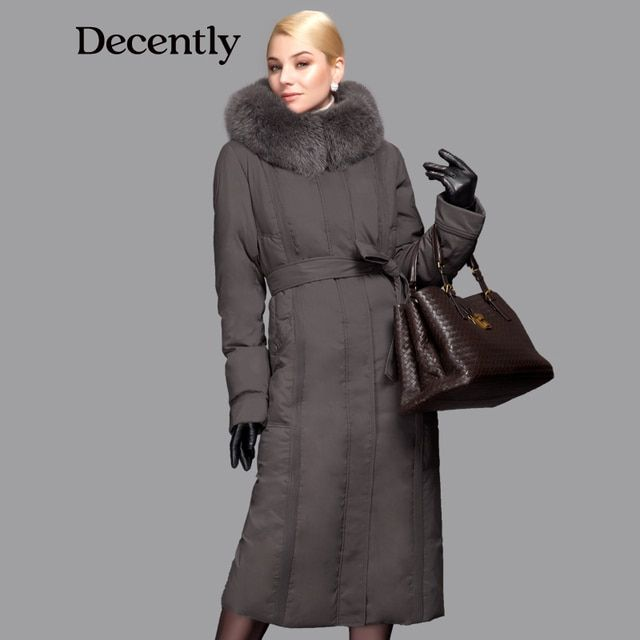DECENTLY 2015 winter Long New Down Women Jacket  Longthen Slim Belt Coat Real Fox Collar Thick Big size Free shipping 1A7155-1
