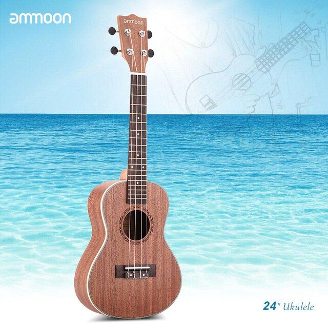"ammoon 4 Strings Ukelele 24"" Sapele Ukulele with Rosewood Fretboard White Brims Musical Instrument New Year's Gift Present"