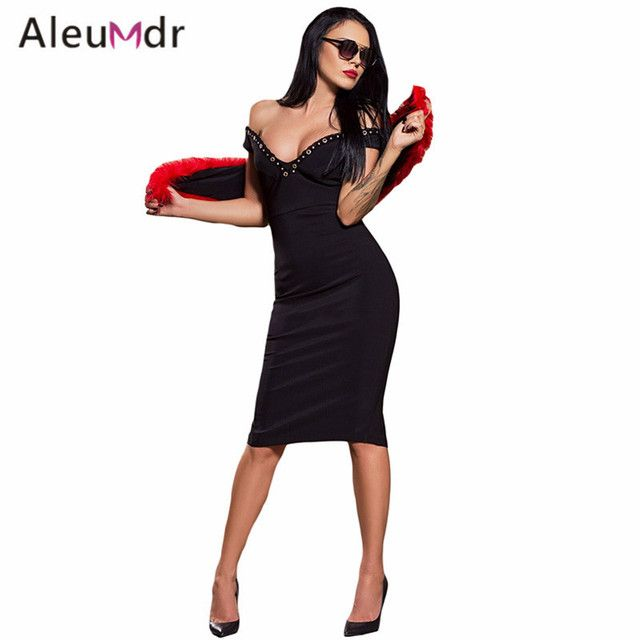 Aleumdr Hot Selling 2017 Women Sexy Bodycon Dresses Summer Split Back Midi Off Shoulder Dresss LC61405 Vestidos De Mujeres