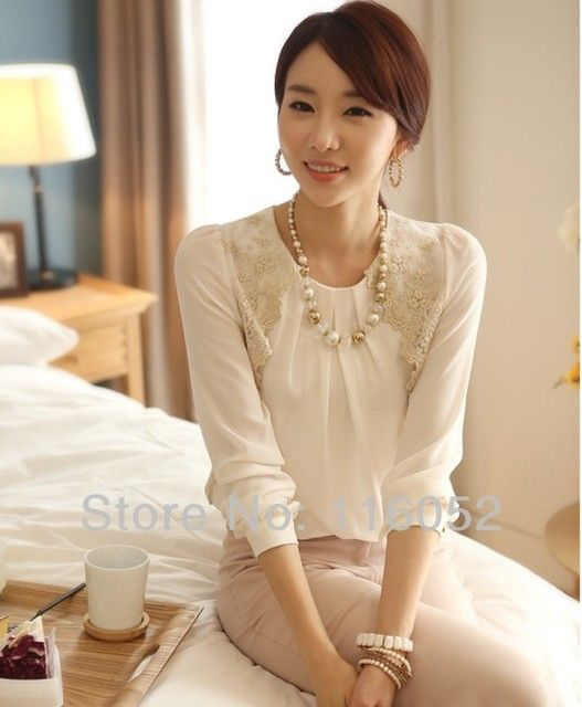 Summer Fashion Tops Elegant White Lace Color Long Sleeve Shirts For Women O Neck Chiffon Blouses Plus Size Casual Shirt