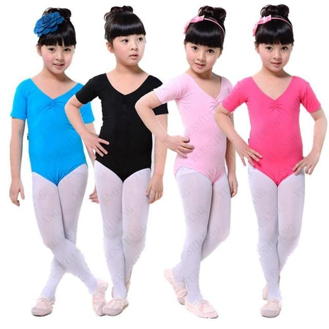 Child Girls Kids Solid Multicolor Slim Ballet Gymnastics Jumpsuit Leotards 3-12Y