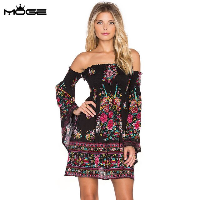MOGE women strapless dress flare sleeve off shoulder sexy boho summer dress casual plus size vestido manga longa kadin elbise