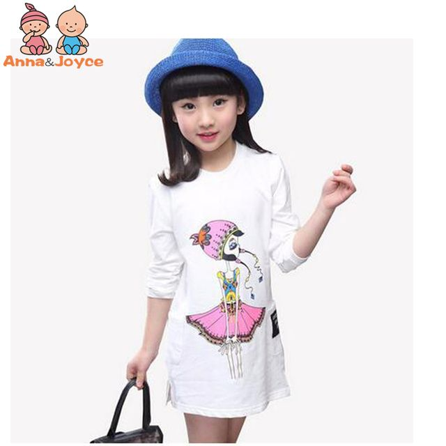 1 pc Children's Clothes T-shirt Girl's Long Sleeves Cartoon Cotton Casual  summer t shirt Tops aTST0262