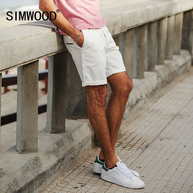 SIMWOOD 2018 Summer New  Shorts Men White Slim Fit Knee Length  Zipper Fly Cotton Brand Clothing XD017006