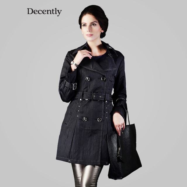 Decently Women Coat Autumn Winter Medium-long Fashion Slim Jacket Casacos Inverno 2014  9622