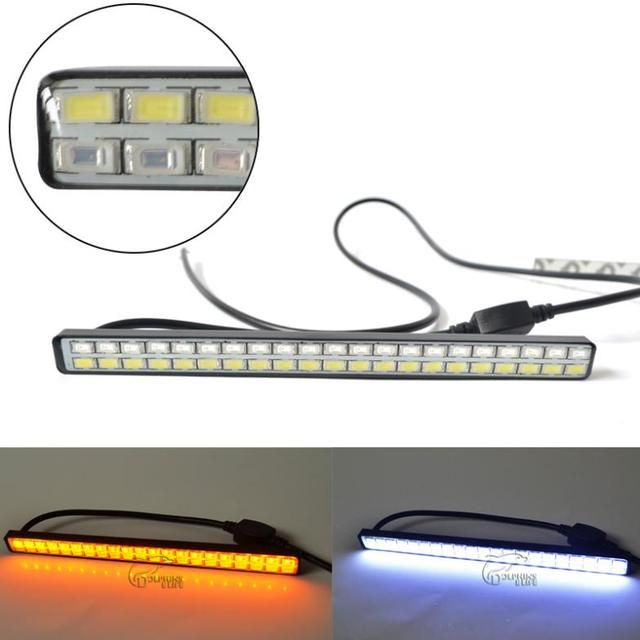 Newest 21 LED White + 21 LED Yellow 5630 Car styling Daytime running lights Turning Signal DRL Waterproof Free Shipping