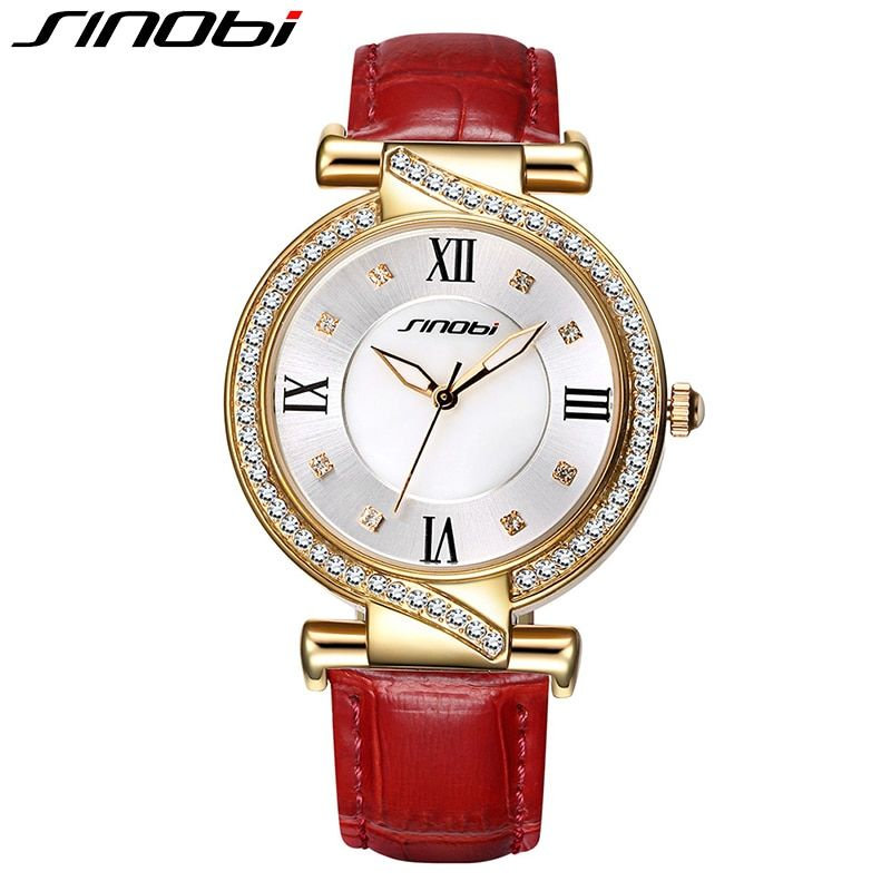 SINOBI Women Bracelet Watch Rhinestone Genuine Leather Strap Elegant Quartz Wristwatch Fashion Leisure Lady Clock Reloj Mujer