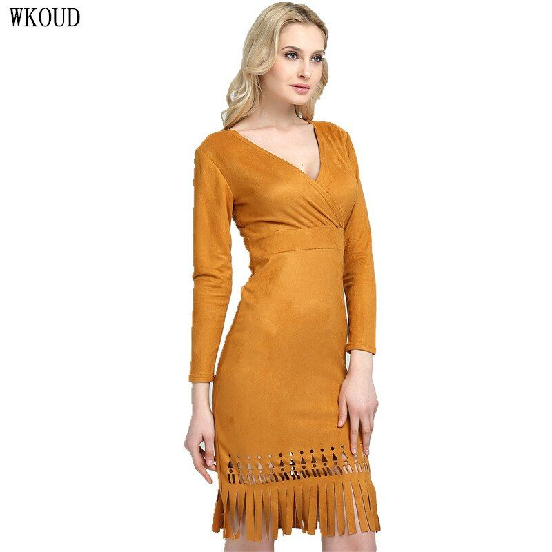 WKOUD 2017 New Arrival Spring Yellow Tassel Dress Women Sexy Deep V-neck Hollow Out Knee-Length Dresses Solid Vestidos K8010