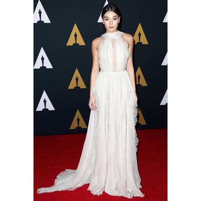 2017 Celebrity Dresses Oscar Awards Red Carpet Dress High Neck Sleeveless Sheer Lace Chiffon Pleat Sweep Train Evening Dresses