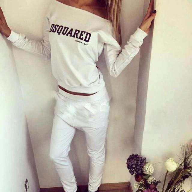 2016  Tracksuit Women Hoodies Set Long Sleeve Slash Neck Pullover Top Autumn Sweatshirt and Pants Suits