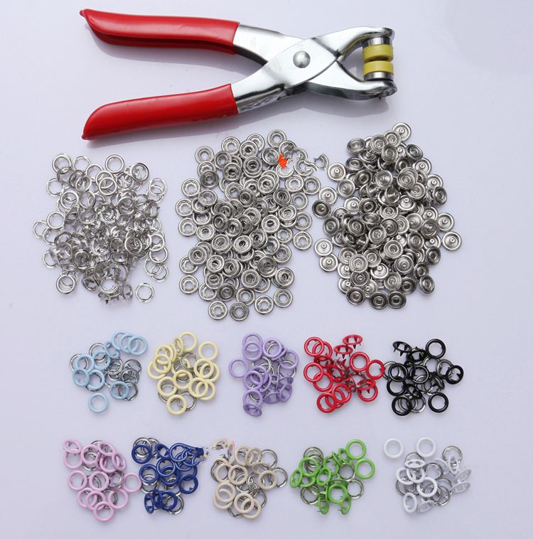 100 Sets 9.5mm Copper Prong Snap Buttons Fasteners Press Studs Poppers With Pliers
