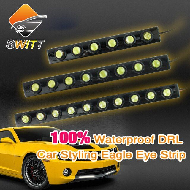 Car styling 2pcs 6/8/10 LED DRL Flexible Strip Waterproof Daytime Running Light  Fog warning light Reverse Light parking lamp