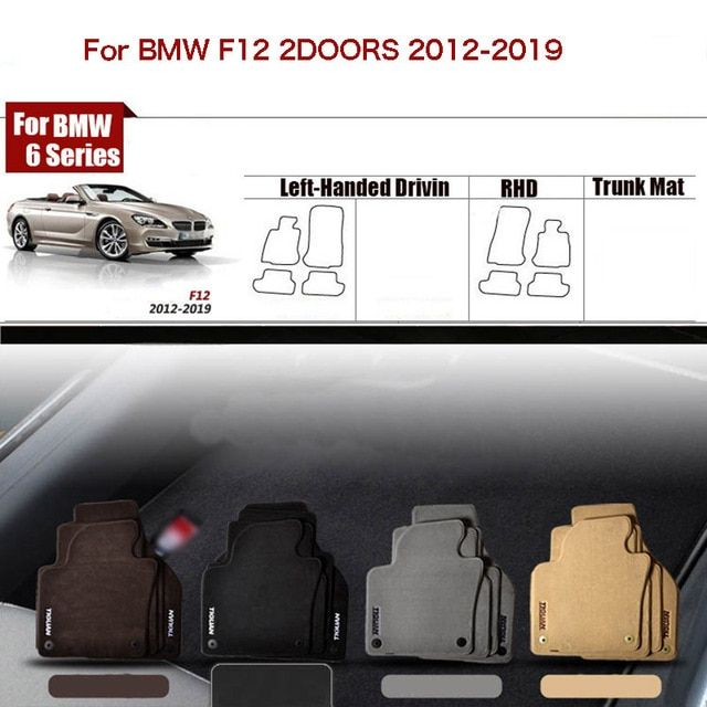 "4pcs Ipoboo Custom Made 1/2"" Thickness Solid Nylon Interior Odorless Floor Carpet Mats Cover Fitted For BMW 6 Series F12"