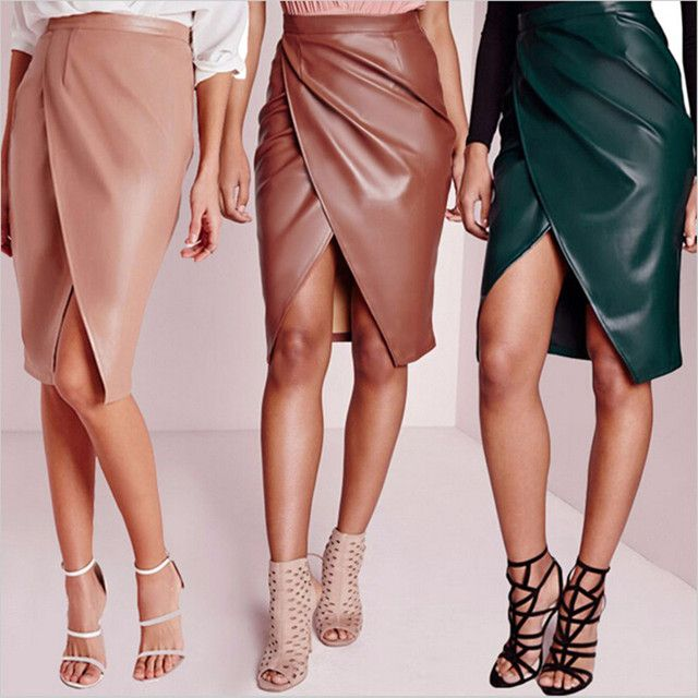 Winter 2015 Plus Size Fashion New Women Pu leather Pencil Skirt High Waist Solid Split Pleated Mini Bodycon slim hip Sexy Skirts