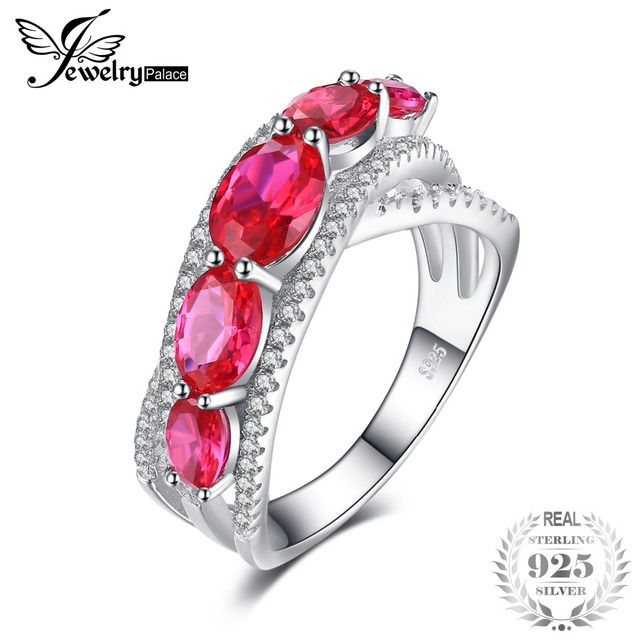 JewelryPalace 3.2ct Oval Created Red Ruby Cross-Over Wedding Ring 925 Sterling Silver Fine Jewelry For Women 2018 New Arrival