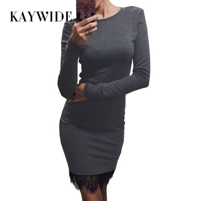 DICLOUD 2017 Lace Patchwork Autumn Women Dress Casual Bodycon Winter Dresses With Tassel Long Sleeve Ladis Dress Vestidos 15349