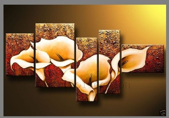 "5-Piece ""Calla Lily"" Flower Large Abstract Modern 100% Hand Painted Oil Paintings on Canvas Wall Art Set Deco Home Decoration"