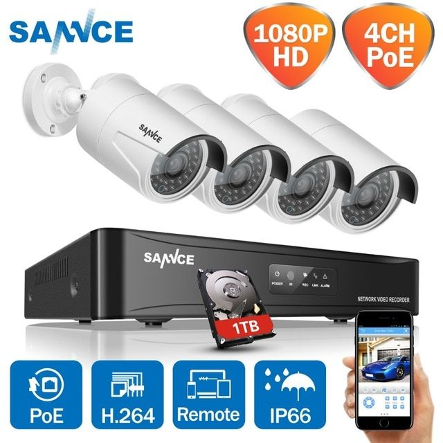 SANNCE 4CH HD 1080P CCTV System POE NVR 1080P Video Output 4PCS 2MP CCTV POE IP Camera Home Security Surveillance Kits 1TB HDD