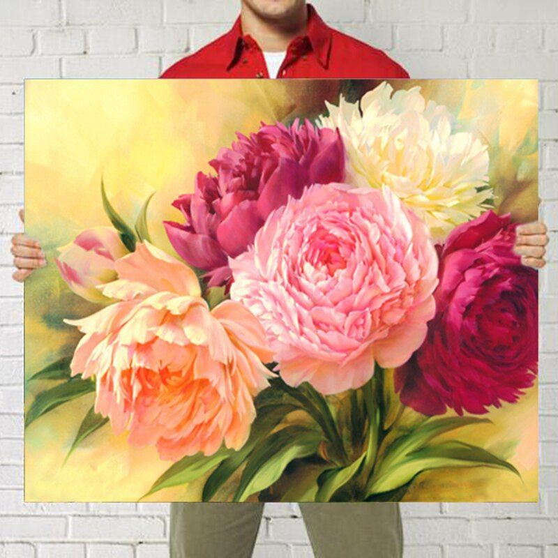 DIY 5D Full Diamonds Embroidery Peony flowers Round Diamond Painting Cross Stitch Kits Diamond Mosaic Home Decoration Lx