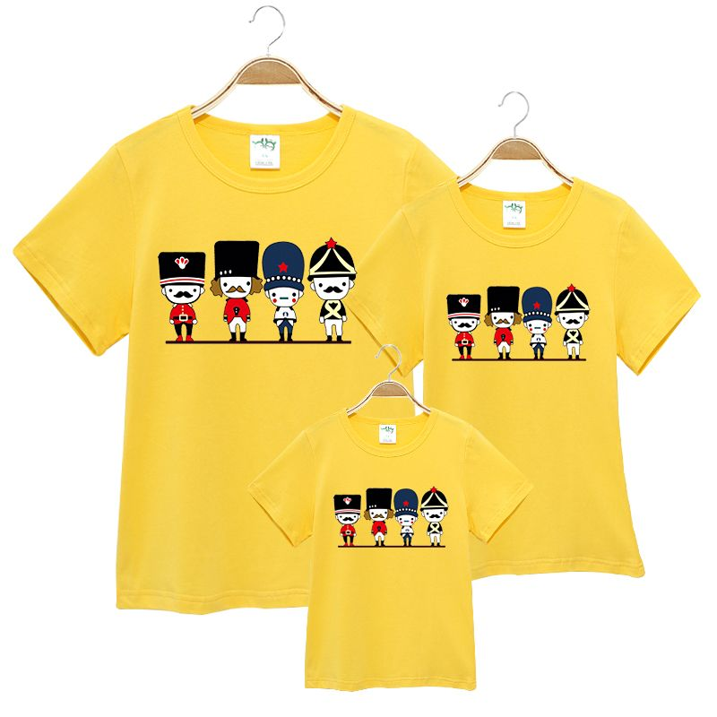 2017 summer Family Matching Outfits short-sleeved Cartoon T-shirt Women Kids Clothing Top tees Family Look Family fitted
