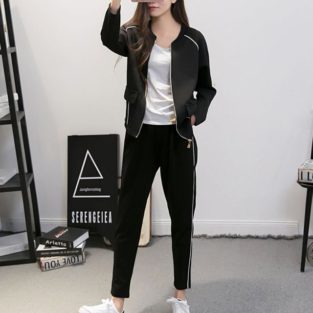 2016 Fashion Womens Lady Slim Tracksuit Set Casual Track Suits Long Sleeve Casual 2 Piece Set Hooded Tracksuit Conjunto Feminino