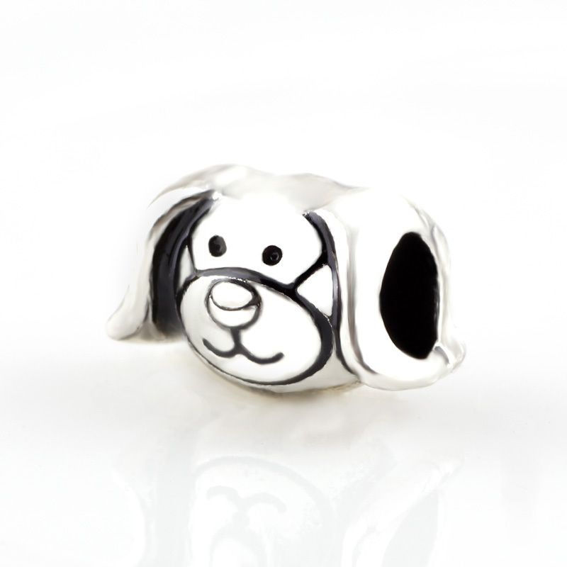 Dog Silver Charm Beads big hole bead Chamilia Spacer European Murano Czech DIY Bead Charm Fit For Pandora Bracelet Charms