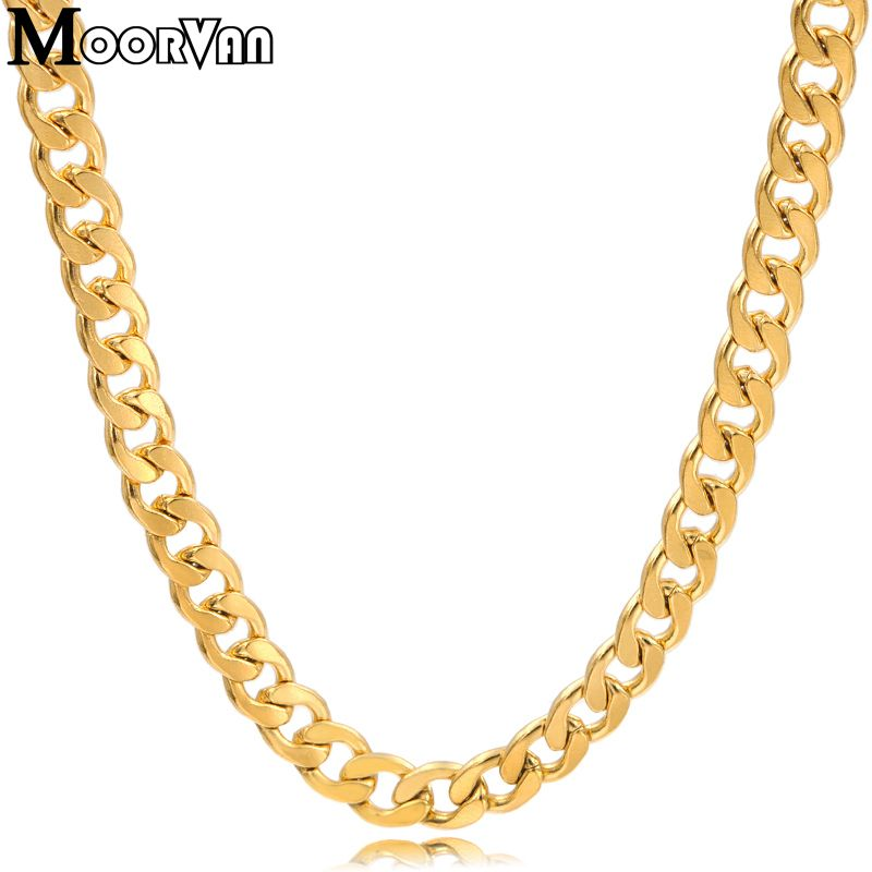 Moorvan man's NK chains gold color Necklace Figaro 55cm 5mm stainless steel fashion jewelry for mens gift wholesale VN219