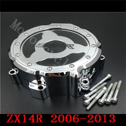 For Kawasaki ZX14R ZX-14R ZZR1400 2006 2007 2008 2009 2010 2011-2014 Motorcycle Engine Stator cover see through Chrome Left side