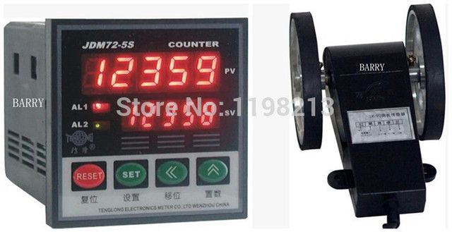 Wire length counter 5-digital length measurer wheel meter JDM72-5S + LK-90-1 digital couters