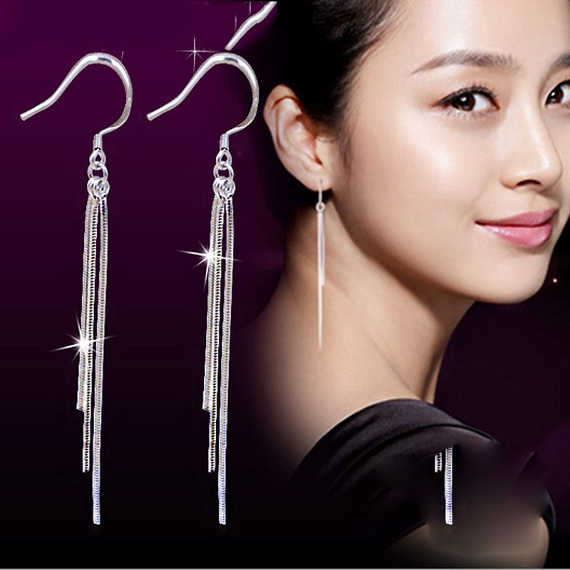 2019 Classic long Tassels Earrings Buckle Earrings pendientes plata boucle oreille brincos boucle d'oreille