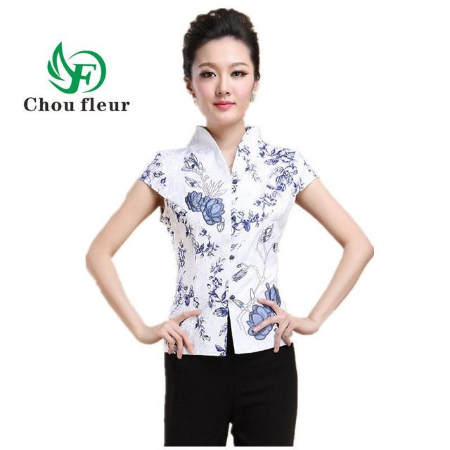 The Elderly Female Short Sleeve Summer Blouse Chinese Cheongsam Middle-aged Mother Shirt Tops Embroidery