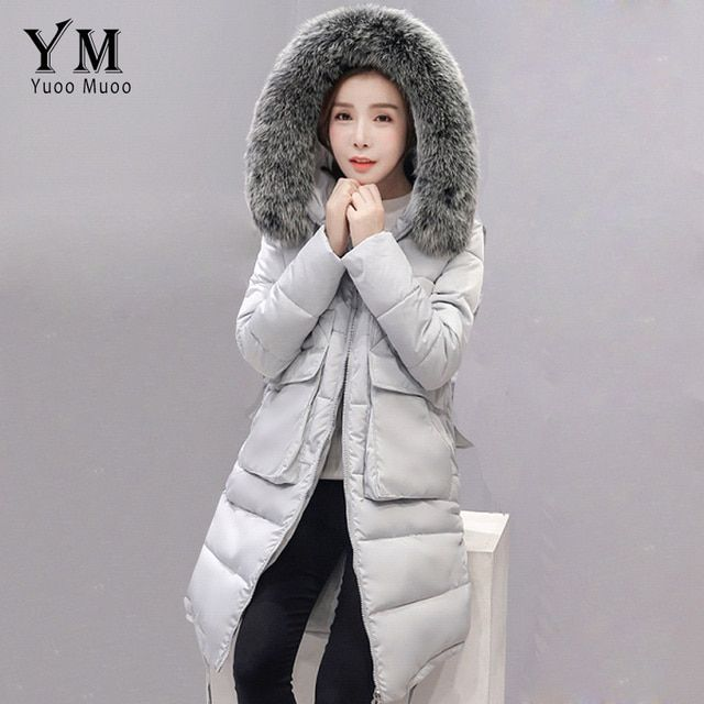 YuooMuoo New 2016 Plus Size Fur Collar Winter Coat Women Cotton Wadded Long Down Jacket Fashion Korean Style Parka Women Jacket
