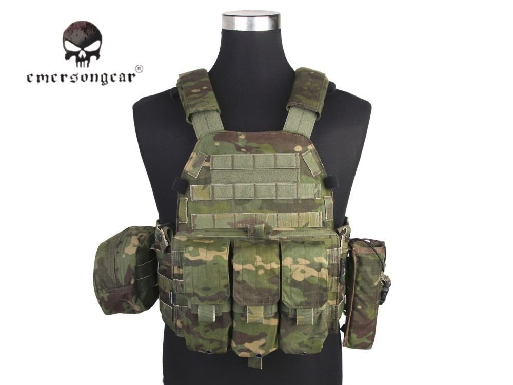 Emersongear LBT6094A Style Tactical Vest With 3 Pouches Hunting Airsoft Military Combat Gear Multicam Tropic EM7440MCTP