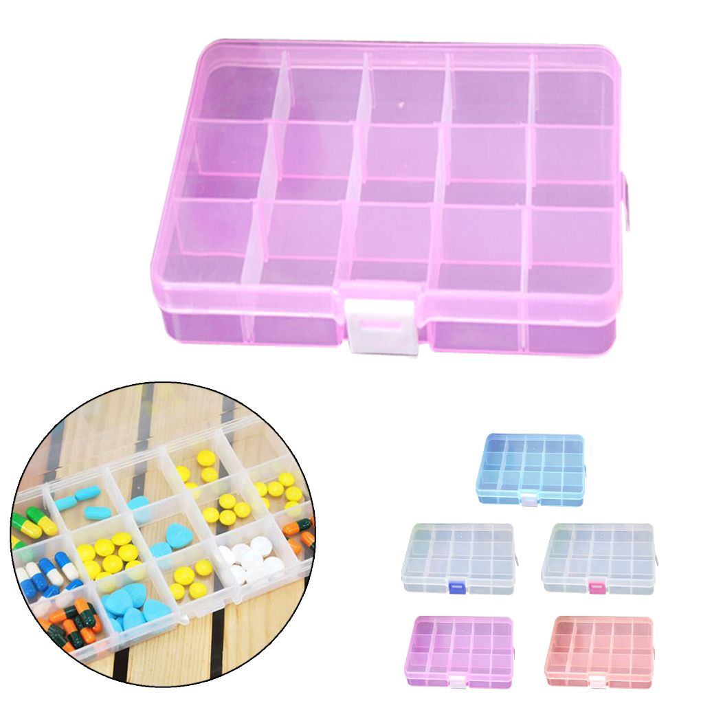 New Practical Candy color PP Hard Plastic 15 Slots Adjustable Jewelry Storage Box Case Craft Organizer Beads