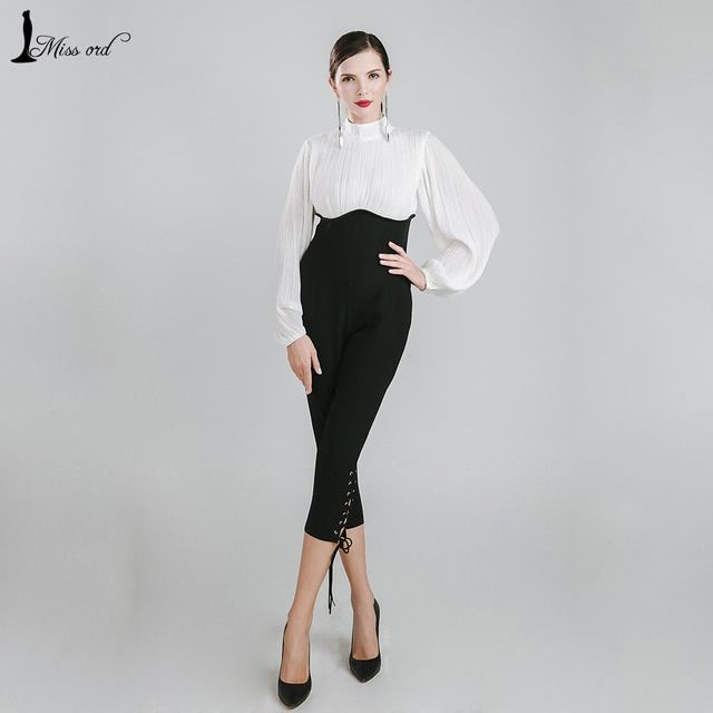 Missord 2016 Sexy high-necked long sleeve folds Drawstring JUMPSUITS FT4902