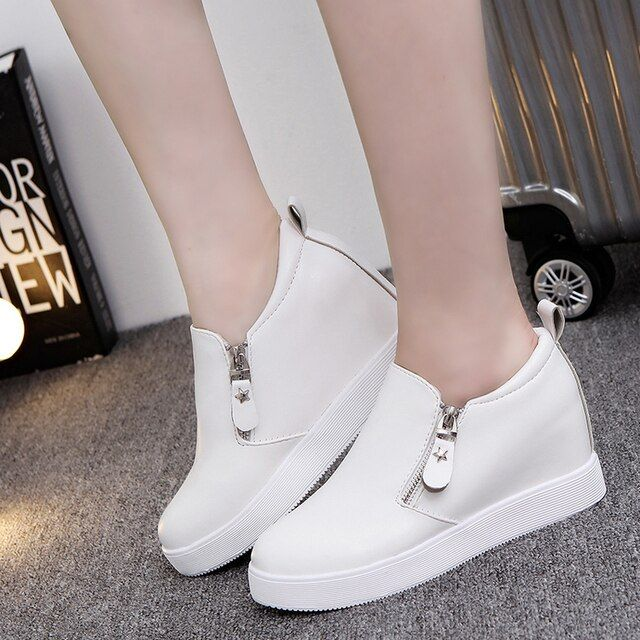 2016 new solid height Increasing shoes woman fashion autumn zip flat platform shoes women soft leather womens creepers
