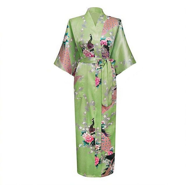 Mujer Pijama Light Green Female Robe Bathrobe Style Long Women's Sleepwear Kimono Bath Gown Plus Size S M L XL XXL XXXL Zhc01L